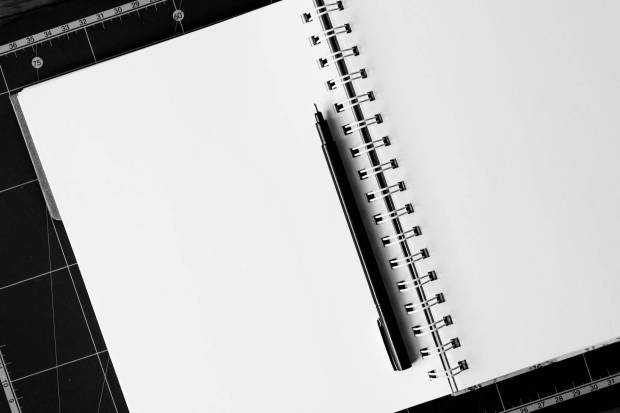black ball point pen on white notebook